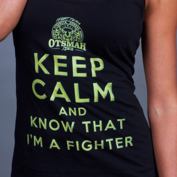 DEBARDEUR FEMME FIGHT AND ROCK – KEEP CALM I'M A FIGHTER – BLACK GOLD 30