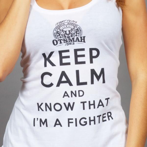 DEBARDEUR FEMME FIGHT AND ROCK – KEEP CALM I'M A FIGHTER – BLANC NOIR 2