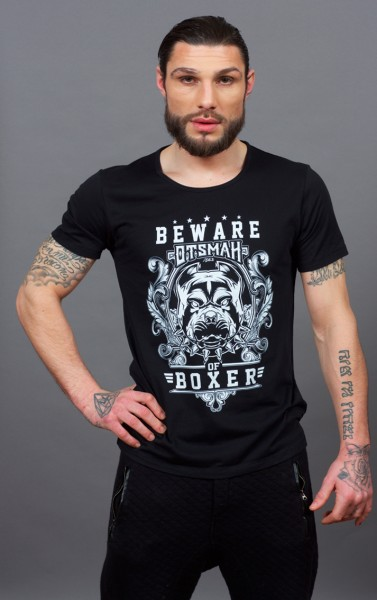 T-SHIRT BOXE AND ROCK - BEWARE OF BOXER - NOIR BLANC